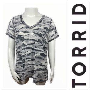 🆕 Torrid  Gray camouflage print top
